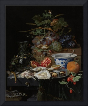 Still Life with Fruit, Oysters, and a Porcelain Bo