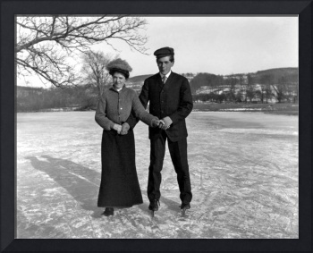 Ray Gurney and Dora Miller skating on Squire Pond,