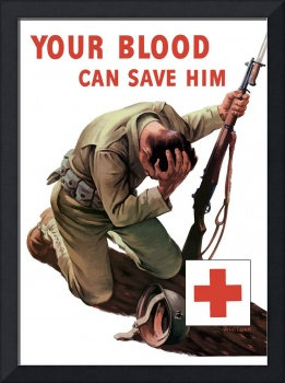 Vintage World War II poster of a soldier kneeling