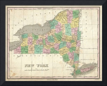 Vintage Map of New York (1827)