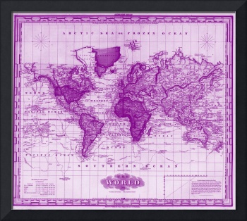 Vintage Map of The World (1833) White & Purple