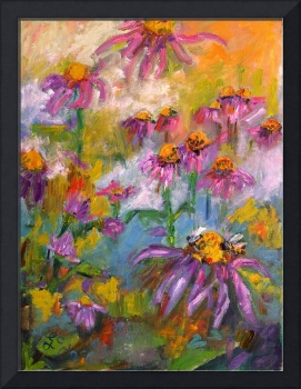 Purple Coneflower & Bees Oil Painting by Ginette