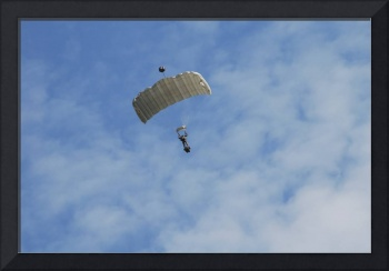 A paratrooper of the Belgian Army in the air