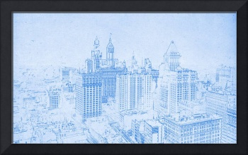 BluePrint of The big buildings of Lower Manhattan,