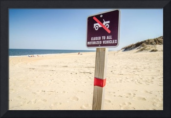 no driving  on beach sign