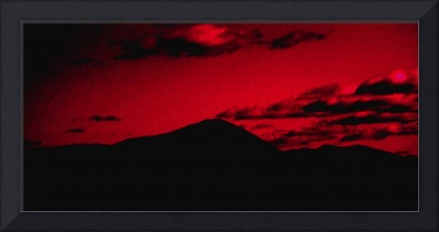 A Mountain Under Red Sunset