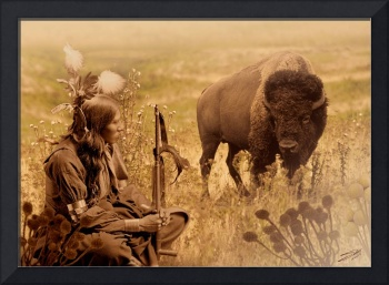 Native American Sioux and Bison