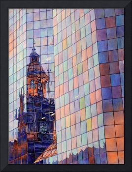 Watercolor painting of Cathedral- Santiago, Chile