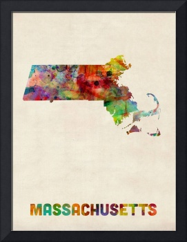 Massachusetts Watercolor Map
