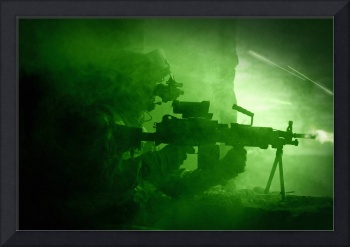 Night vision view of a U.S. Army Ranger in Afghani