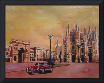 Milan Cathedral with Oldtimer Convertible Alfa Rom