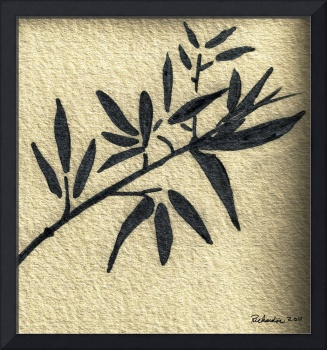 Zen Sumi Antique Botanical 4a Black Ink on Waterco