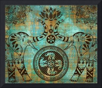 Elephants Lotus Flower Distressed Mandala Design