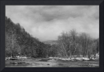 Panther Creek in Snow-B&W#3