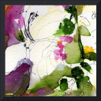 Abstract Blossom Square Format WC by Ginette