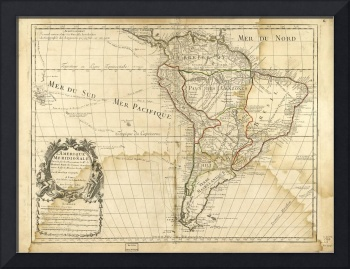Map of South America circa 1708 (L'Amerique meridi