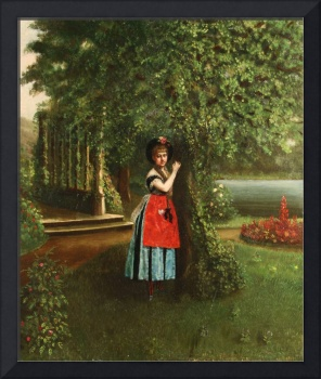 AMERICAN 19TH CENTURY Young Woman in a Park