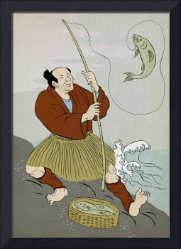 Japanese fisherman fishing catching trout fish