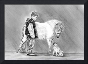 Trio of Curiosity- Miniature horse, Pug, boy