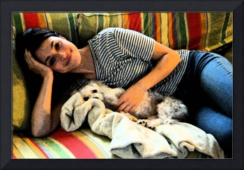 Girl and Dog on Couch