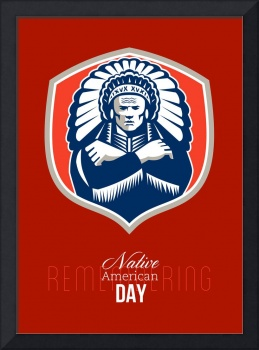 Remember Native American Day Retro Poster Card