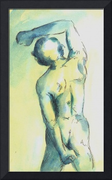 Yellow and Blue Male Nude Study