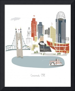 Cincinnati Modern Cityscape Illustration