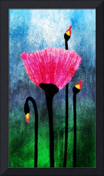 32a Expressive Floral Poppies Painting Digital Art