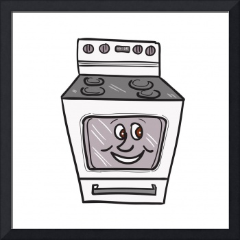 Oven Smiley Face Cartoon