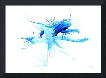 Blue Expressive Abstract Watercolor Painting 37a