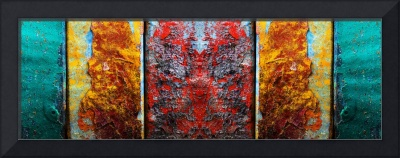 Abstract A928991 Red Yellow Orange Turquoise Green