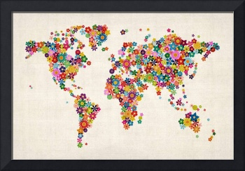 Flowers Map of the World Map