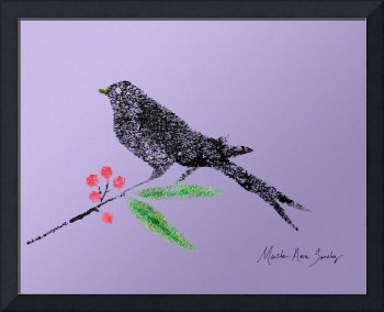 Decorative Black Bird and Red Berries Lavender R