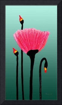 Expressive Red Pink Green Poppy Painting 3310t