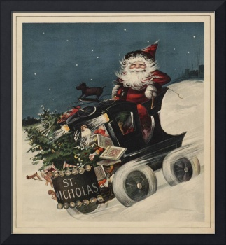Vintage Santa Claus in a Motorized Sleigh (1920)