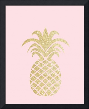 Gold Pineapple Pink Background