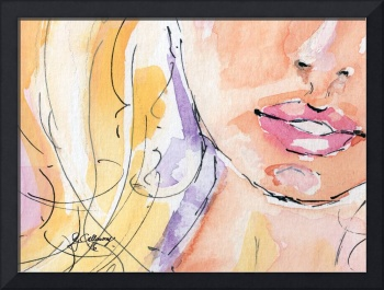 Curves Lips Watercolor and Ink