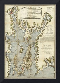 Vintage Map of The Narragansett Bay (1777)