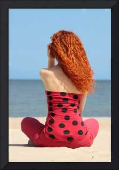 Young woman relax on beach.