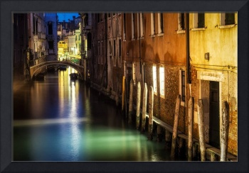 Venice canal by night