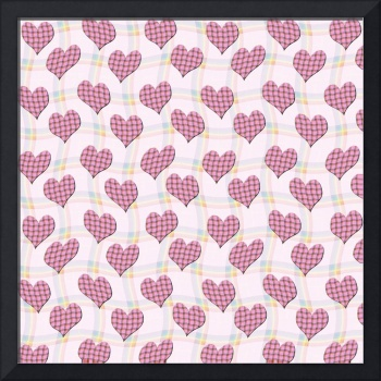 Pink gingham hearts pattern wallpaper