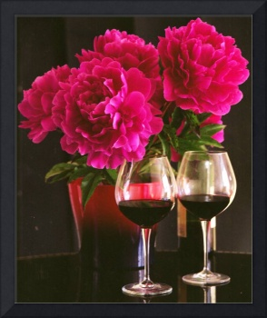 Peonies and wine