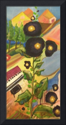 Black Hollyhocks & Piano