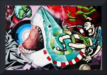 Shark.Graffiti wall.