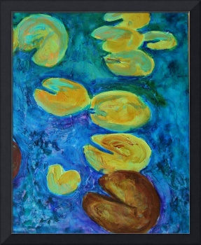 Turquoise Waters 4, Abstract Waterlily Series