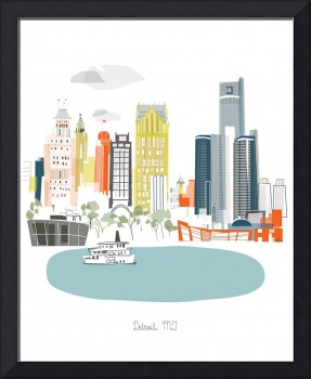 Detroit Modern Cityscape Illustration