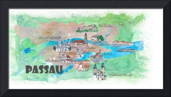 Passau Fine Art Print Retro Vintage Map