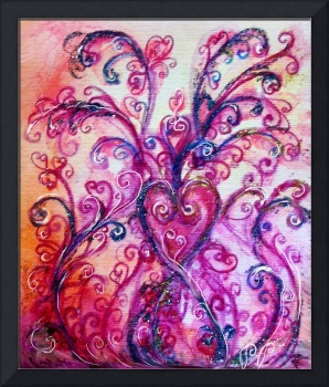 WHIMSICAL FLOURISHES,PINK PURPLE SWIRLS WITH HEART