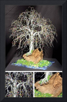 BONSAI ISLAND  No.2 - Beaded Wire Tree Sculpture