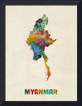 Myanmar Watercolor Map Burma